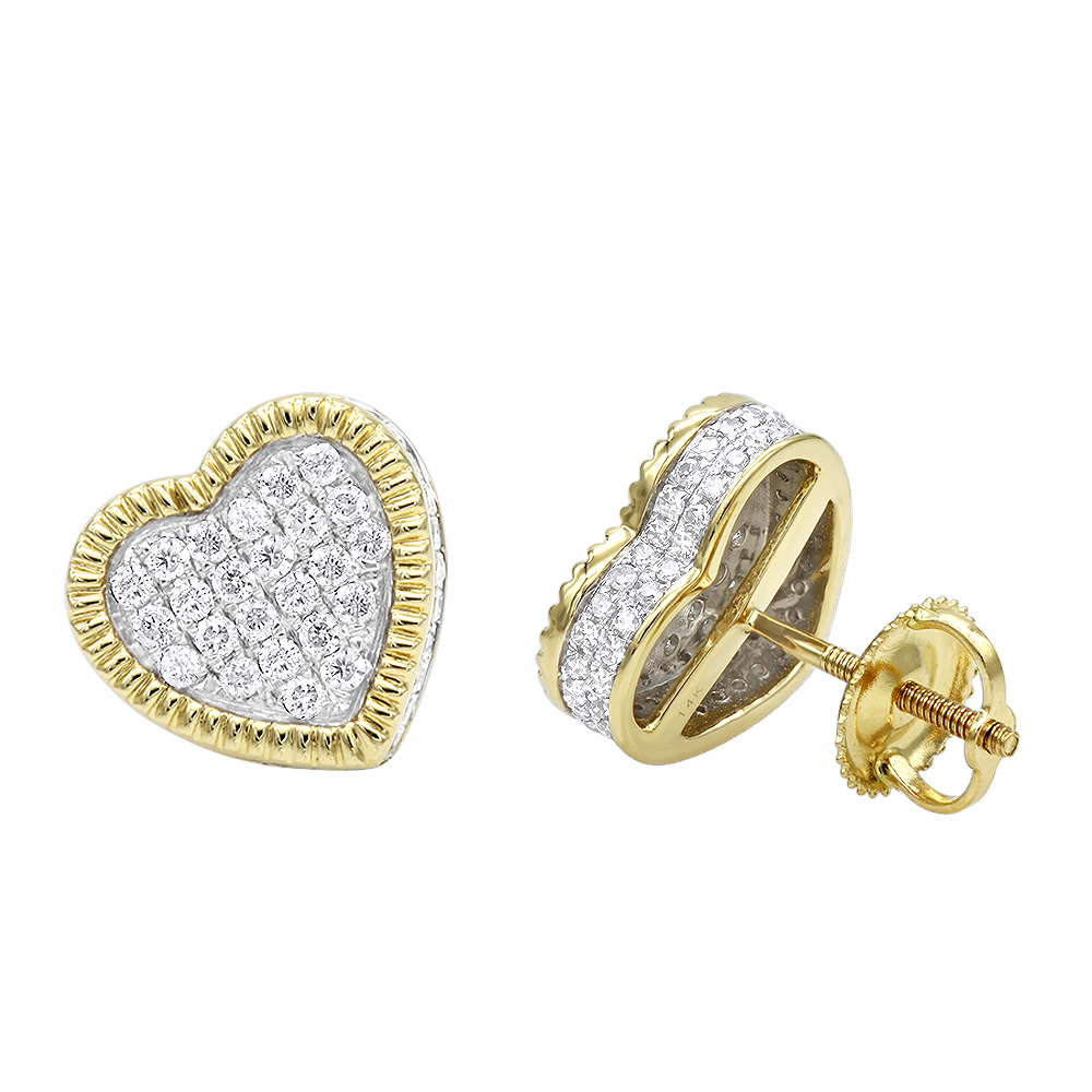 Solid 14K Gold Heart Diamond Stud Earrings for Women 0.75ct by Luxurman