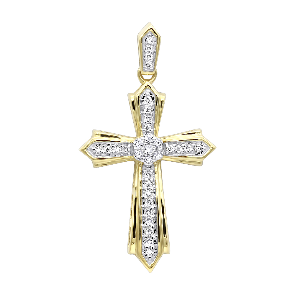 Solid 14k gold small diamond cross pendant for women 02ct aloadofball Image collections