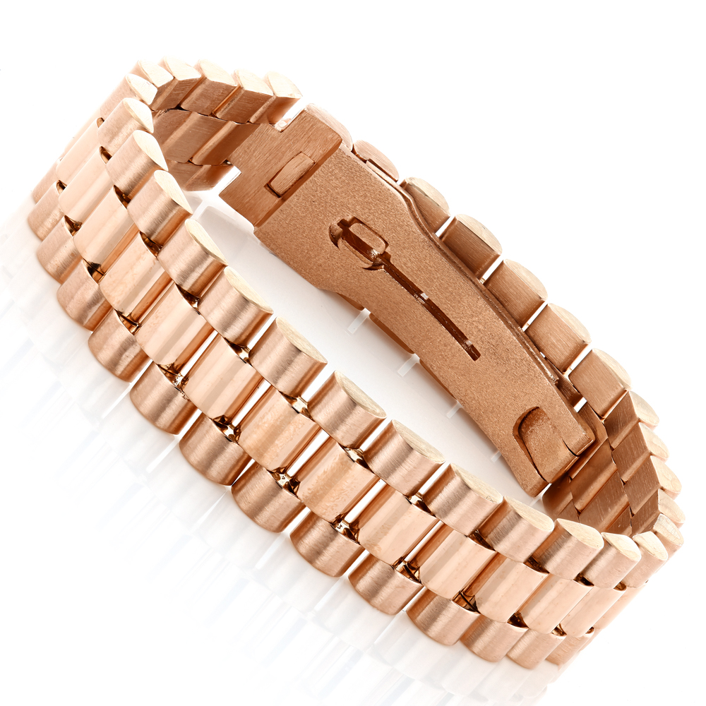 Solid Gold Mens Bracelet Rolex Style 18k White Gold, Rose Gold ...