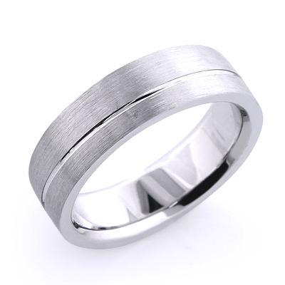 Solid Platinum One Line Mens Wedding Band