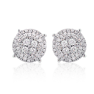 Sparkling Round Diamond Cluster Earrings 0.90ct 14K Gold