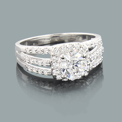 Split Band Engagement Ring Setting with Round Diamonds 0.37ct 14K