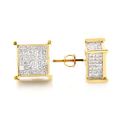 Square Diamond Stud Earrings 14K Gold 2.25ct