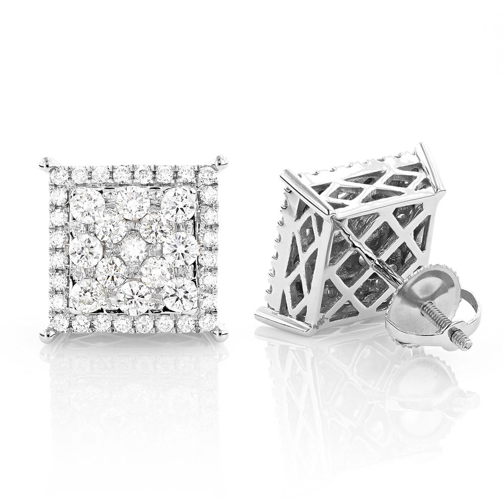 Square Large Diamond Earrings Studs 14K Gold 1.68ct Oversized