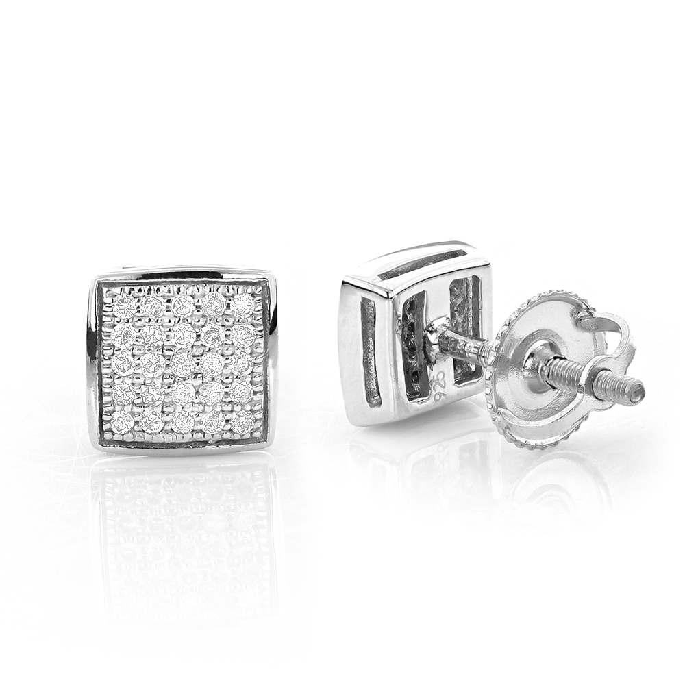 Square Round Pave Diamond Stud Earrings Sterling Silver 0.19ct