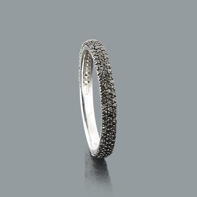 Ultra Thin Stackable Rings: Designer Black Diamond Band 14K 0.55ct
