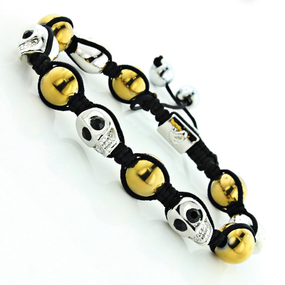 Steel Skull Jewelry: Beaded Bracelet with Black Crystals