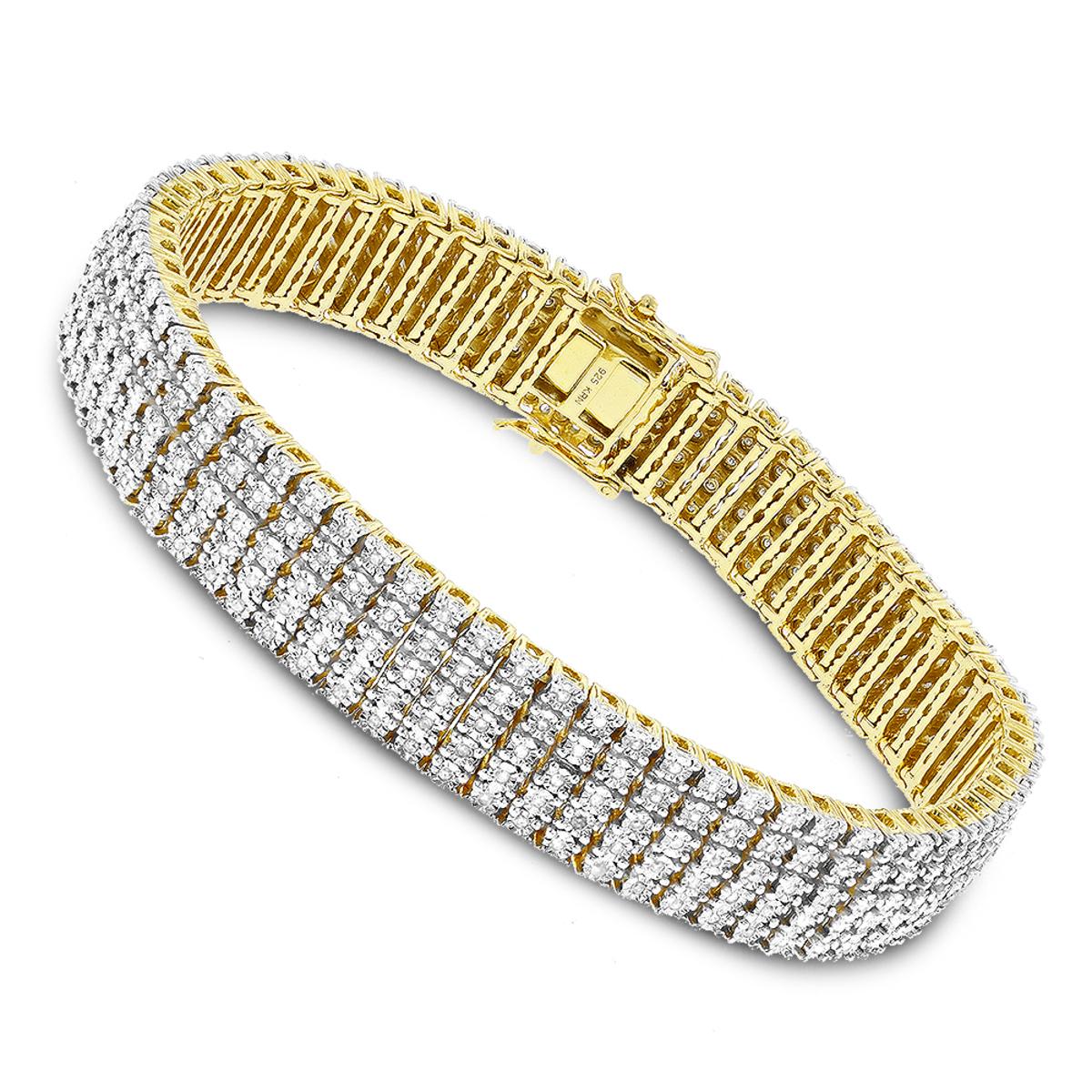 Mens Bracelets: Sterling Silver 5 Row Diamond Bracelet 1.5ct Gold Plated