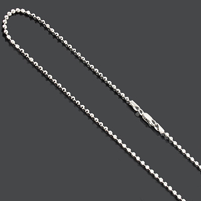 Sterling Silver Bead Chain Dog Tag Necklace 2.5mm Diamond Cut