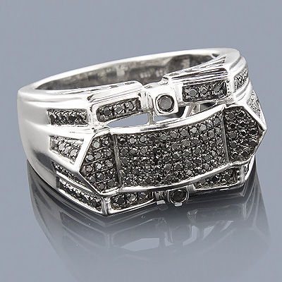 Sterling Silver Black Diamond Mens Ring 1 carat