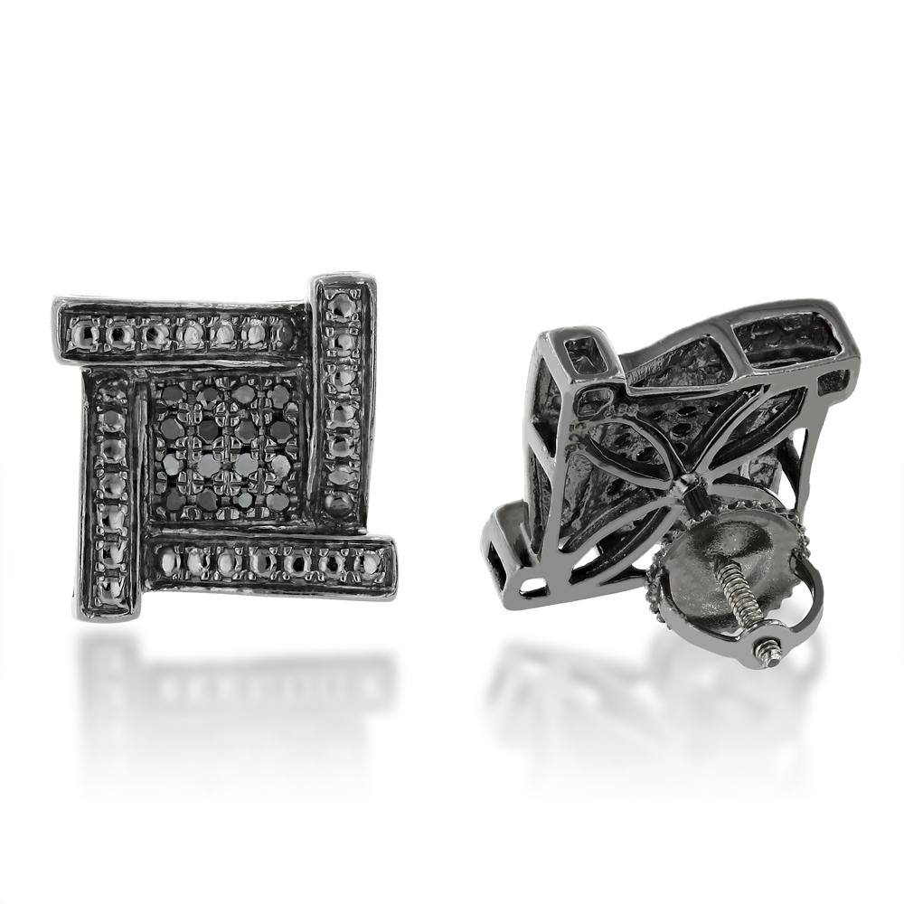 Sterling Silver Black Diamond Stud Earrings 0.16ct