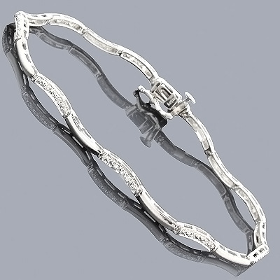 Womens Sterling Silver Bracelet with Diamonds 1/5ct