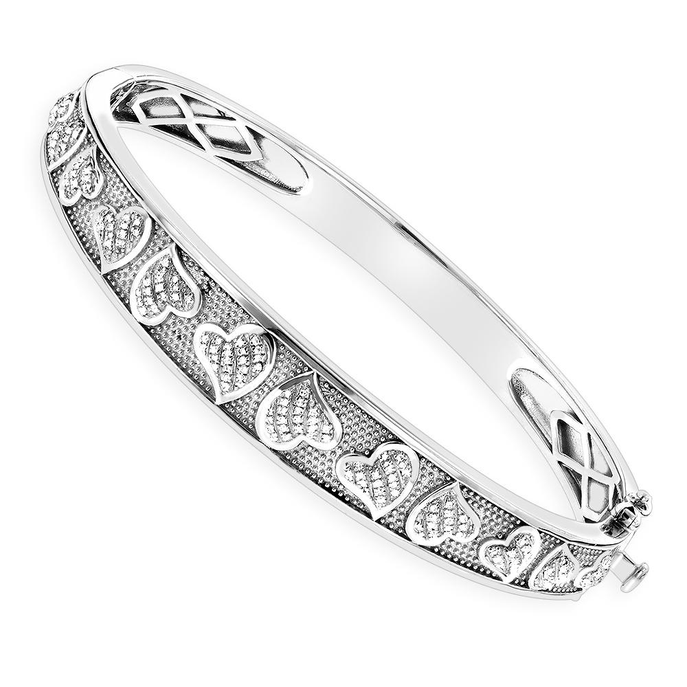 Sterling Silver Bracelets: Diamond Heart Bangle 0.33ct