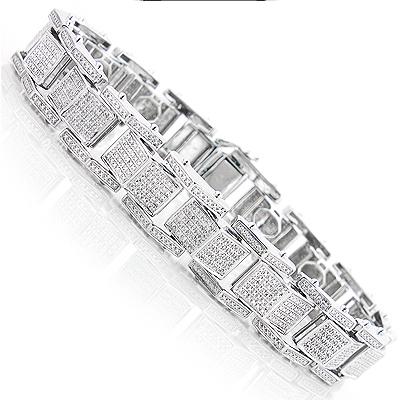 Sterling Silver Bracelets: Mens Diamond Bracelet 0.84ct