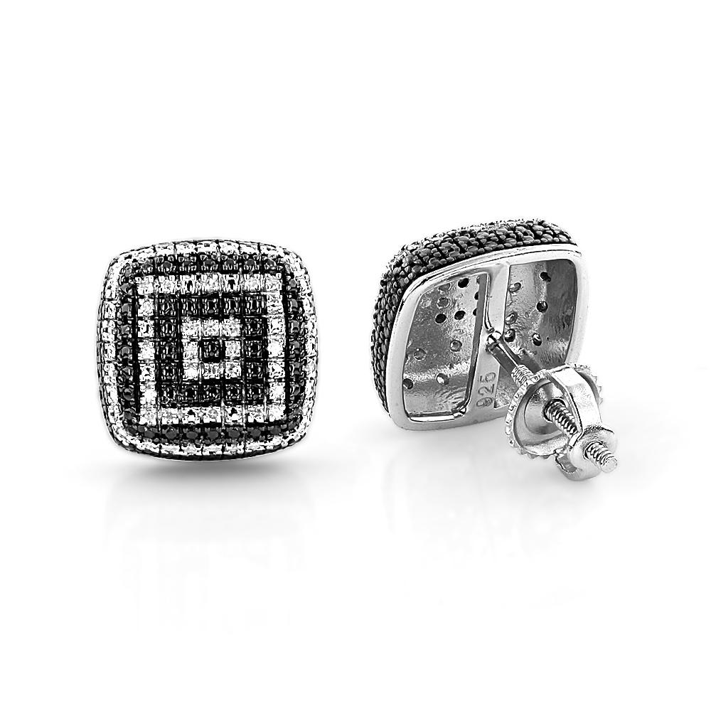 Sterling Silver Designer Diamond Earrings 0.18ct