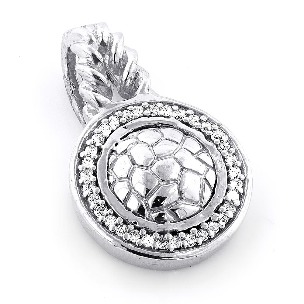 Sterling Silver Diamond Circle Pendant 0.11ct