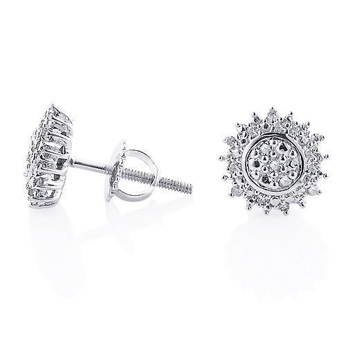 Sterling Silver Diamond Cluster Earrings Studs 0.13ct