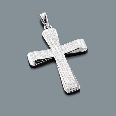 Sterling Silver Diamond Cross Pendant 0.34ct