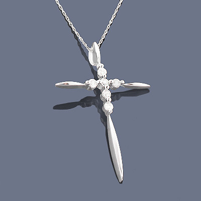 Sterling Silver Diamond Cross Pendant 0.30ct