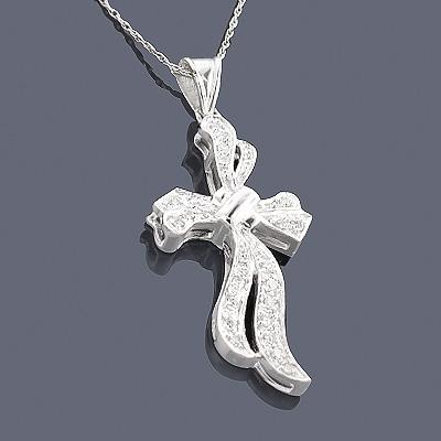 Sterling Silver Diamond Cross Pendant 0.16ct