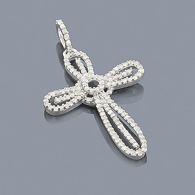 Sterling Silver Diamond Cross Pendant 0.39ct