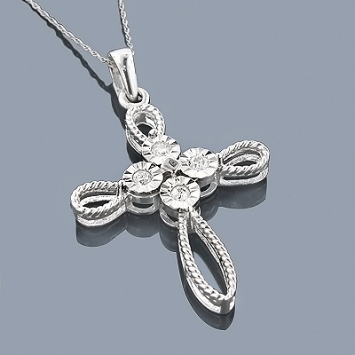 Sterling Silver Diamond Cross Pendant 0.45ct