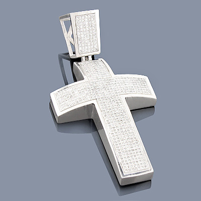 Sterling Silver Diamond Cross Pendant 1.90ct