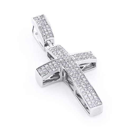 Sterling Silver Diamond Cross Pendant 1/2ct