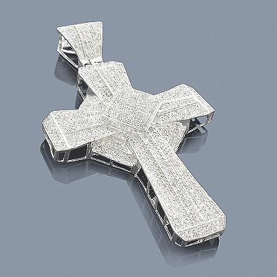 Sterling Silver Diamond Cross Pendant 3.11ct