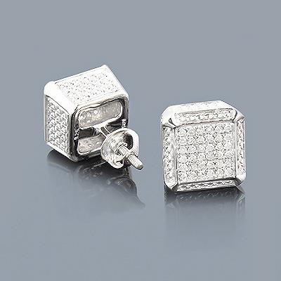 Sterling Silver Cube Diamond Earrings Studs 0.50ct