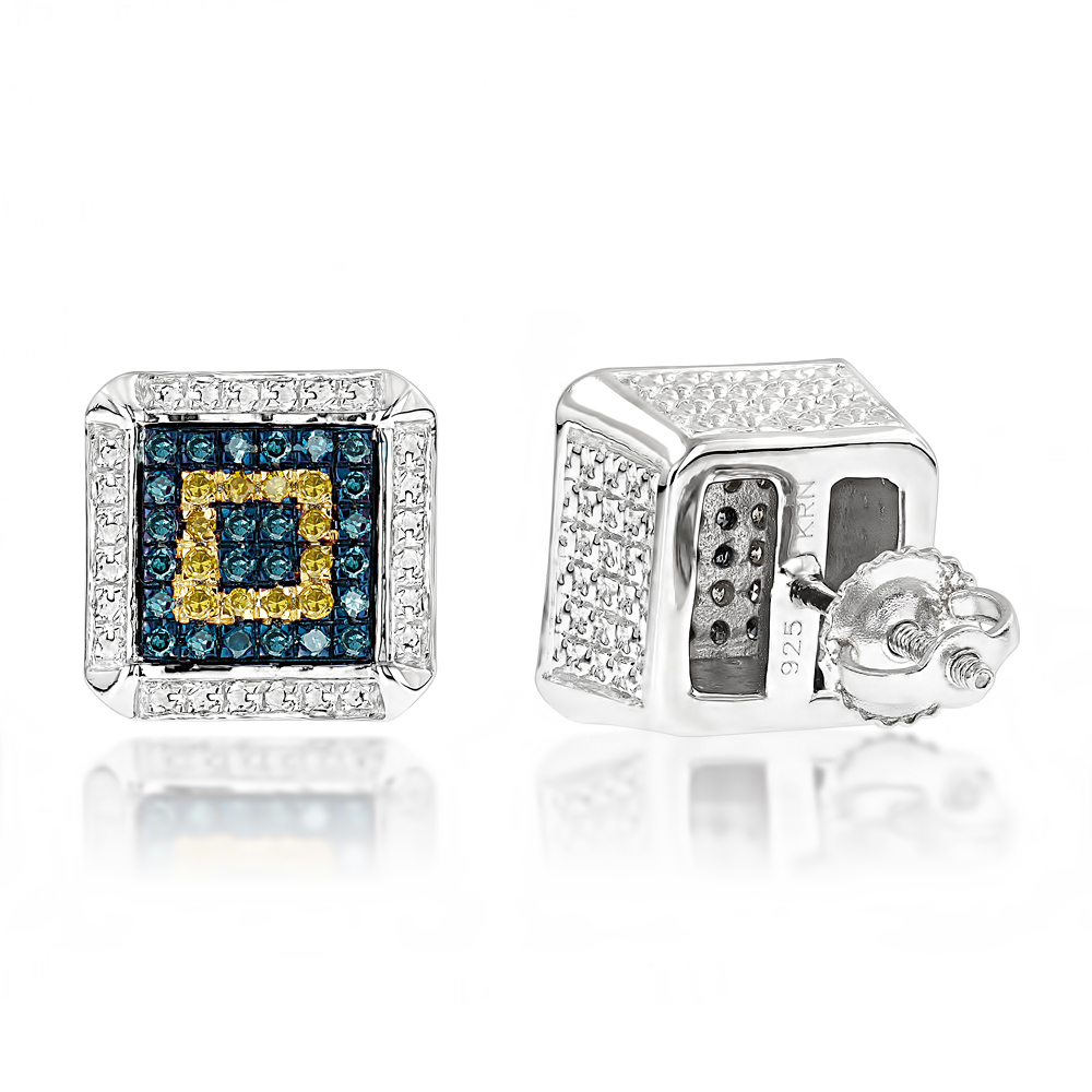 Square Sterling Silver Diamond Earrings Studs 0.35ct Yellow Blue Diamonds