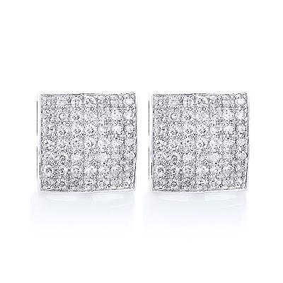Sterling Silver Diamond Earrings Studs 0.81ct