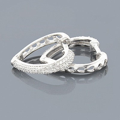 Sterling Silver Diamond Heart Hoop Earrings 0.30ct