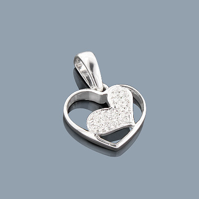 Sterling Silver Diamond Heart Pendant 0.10ct
