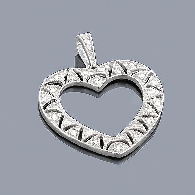 Sterling Silver Diamond Open Heart Pendant 0.11ct