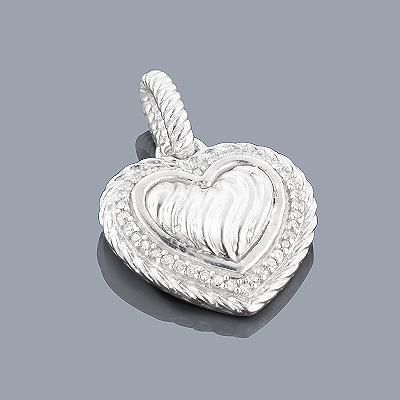 Sterling Silver Diamond Heart Pendant 0.13ct