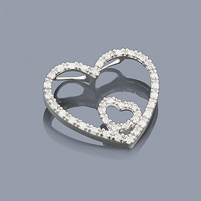 Sterling Silver Diamond Heart Pendant 0.14ct