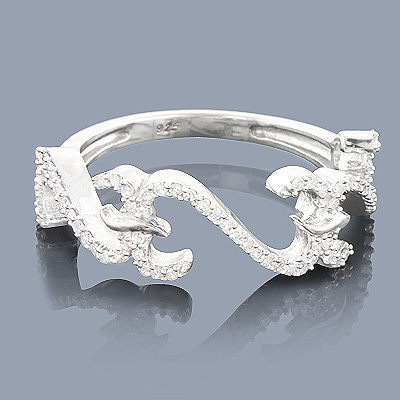 Sterling Silver Diamond Heart Ring 0.29ct
