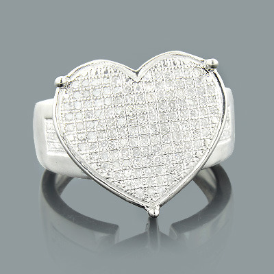 Sterling Silver Diamond Heart Ring 0.52ct