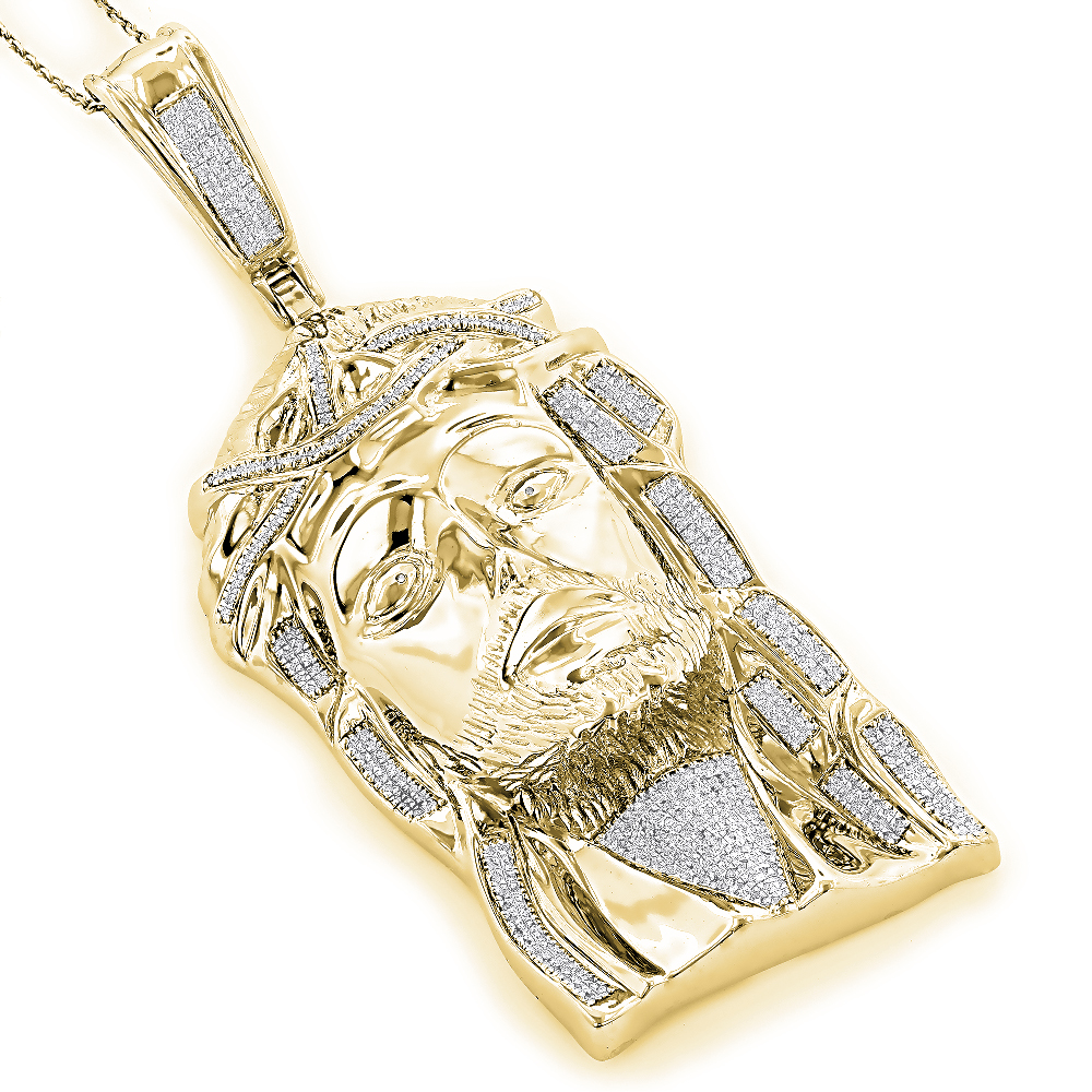Sterling Silver Diamond Jesus Face Pendant 1.75ct Gold Plated