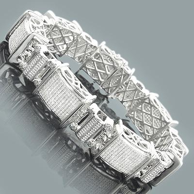 Sterling Silver Diamond Jewelry: Mens Bracelet 3.25ct