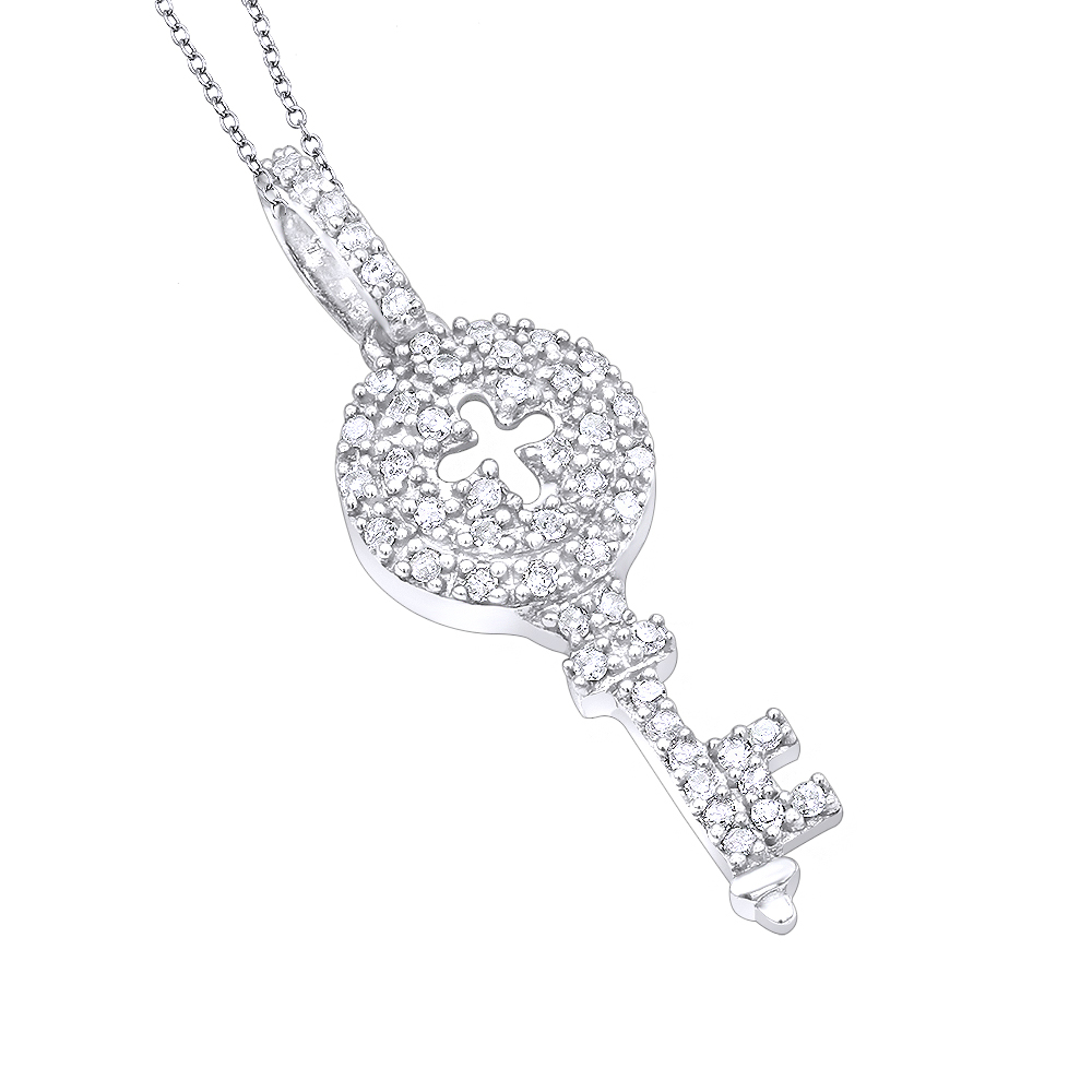 Sterling Silver Diamond Key Pendant For Women with Chain 0.16ct Necklace