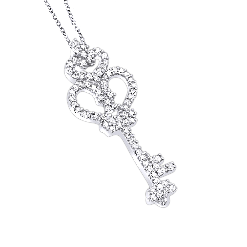 Sterling Silver Diamond Key Pendant 0.24ct