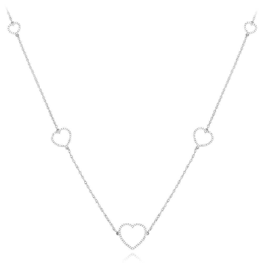 Sterling Silver Diamond Necklace Heart Design 0.3ct