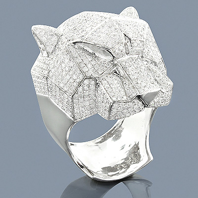 Sterling Silver Diamond Panther Ring 3ct