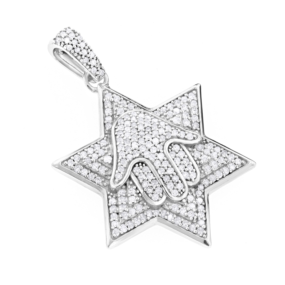 Sterling silver diamond star of david pendant 065ct aloadofball Images