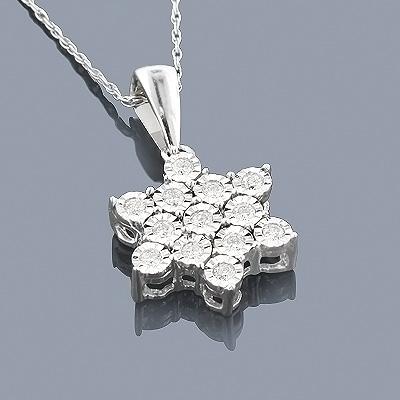 Sterling Silver Diamond Star Pendant 0.30ct