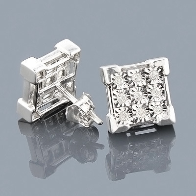 Sterling Silver Diamond Stud Earrings 0.35ct