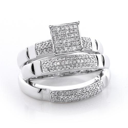 Sterling Silver Diamond Trio Ring Set 0.72ct