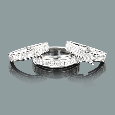 Sterling Silver Diamond Trio Ring Set 0.82ct
